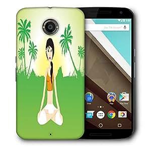Snoogg Female Doing Yoga On Green Invirement Designer Protective Back Case Cover For Motorola Nexus 6