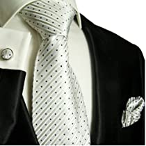 Paul Malone Necktie, Pocket Square and Cufflinks 100% Silk Silver White Dots