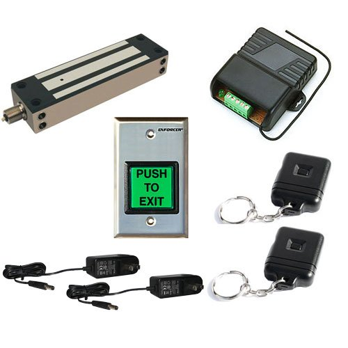 Fpc-5195 One Door Access Control Outdoor Gate 1,500Lbs Electromagnetic Lock With Seco-Larm Wireless Receiver And Remote Kit