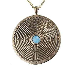 LabyrinthPeace Bronze Pendant Necklace with 6mm Smithsonite Gemstone on 18