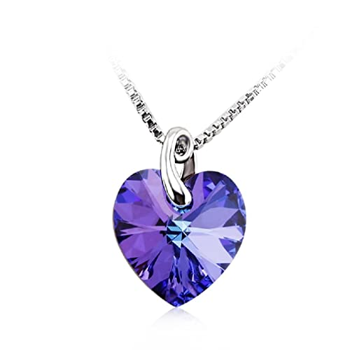 Valentine's Day Gifts Swarovski Crystal Elements Heart Necklace 18 - February Birthstone Purple