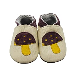 Sayoyo Baby Mushrooms Soft Sole Beige Leather Infant And Toddler Shoes 6-12Months