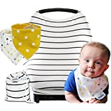 Baby Car Seat Canopy Cover / Stretchy Nursing Cover / Perfect Baby Shower Gifts Set / Bandana Bibs For Boys &...