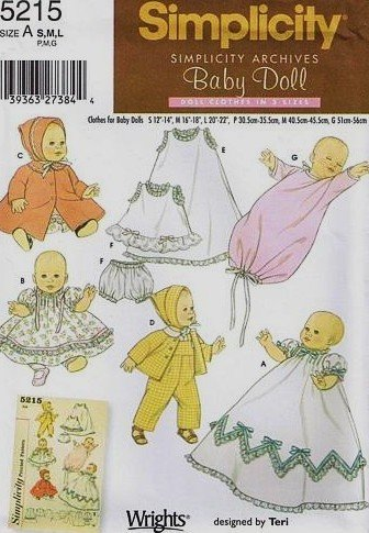 Simplicity 5215 Baby Doll Clothes Archive Sewing Pattern (3 sizes: Sizes Small 12-14