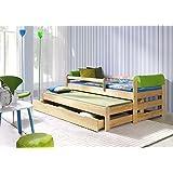 Kinderbett,Ausziebett Doblo 180x80, Massivholz mit Schublade und Lattenrost +2x Kaltschaummatratzen, Schoner für...