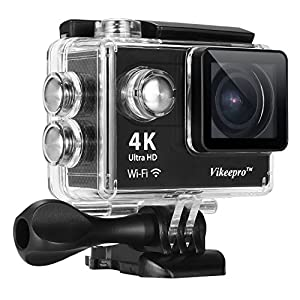 Action Camera-Vikeepro 4K Waterproof Sports Camera With 170 Degree Ultra-Wide Angle Lens, Wi-Fi Wrist 2.4G, Wireless RF Remote Control, 2 Batteries and Free Accessories Kit (Black)