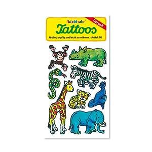 Zootiere Tattoos (Affe, Nashorn, Schlange, Zebra, Giraffe, Löwe, Elefant, Seehund) von Lutz Mauder // Kinder Kindertattoo Tatoo Tatto Kindergeburtstag Geburtstag Mitgebsel Geschenk