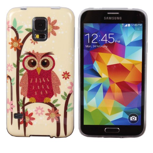 Teenitor(Tm) Stylish Bling Cute Owl And Flowers Tpu Protective Case For Samsung Galaxy S5,With Screen Protector, Stylus, Earphone Cable Organizer (Shipping From Usa)