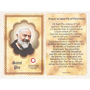 25 St. Padre Pio Third Class Relic Prayer Cards