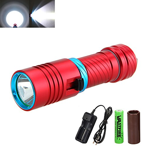 VastFire 1000 Lumens Scuba Diving CREE XM-L L2 LED Flashlight Torch Waterproof Light Outdoor Sports 18650 Battery Charger (Red)
