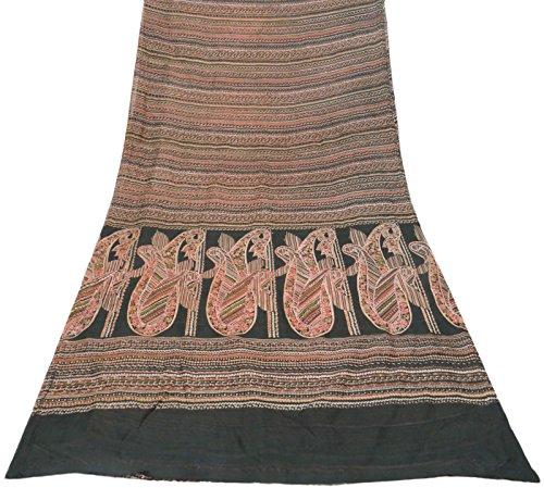 ethnique-pure-soie-vintage-saree-indien-imprime-floral-sari-noir-craft-tissu