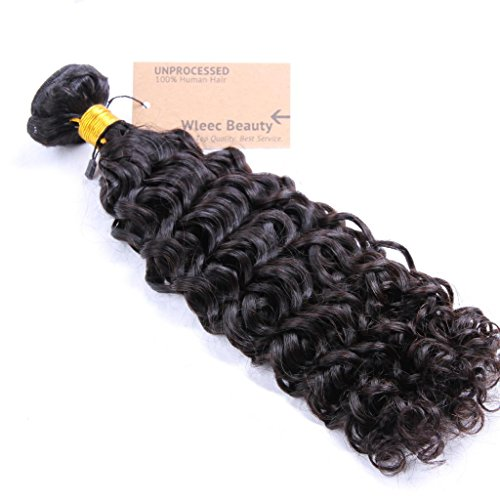 Wleec Beauty Brazilian Virgin Curly Hair, 1 Bundle Natural Color Virgin Human Hair Extensions
