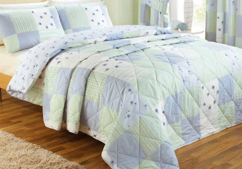 Dreams 'n' Drapes Patchwork Quilt Set Blue, Double