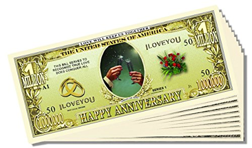 """Happy Anniversary"" Million Dollar Bill - 25 Count with Bonus Clear Protector & Christopher Columbus Bill"