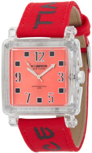 K&BROS Unisex 9415-3 Ice-Time Happy Squared Watch