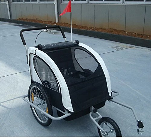 Honeyway 2In1 Double Baby Bicycle Bike Trailer /Stroller /Jogger (White And Black) front-909300