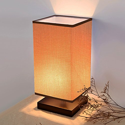 ALightUp Table Lamp Bedside Lamp With Natural Wood Base for Bedroom, Dresser, Living Room, Baby Room, College Dorm, Coffee Table, Bookcase