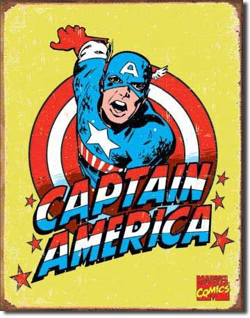 Captain America Distressed Retro Vintage Tin Sign (Marvel Sign compare prices)