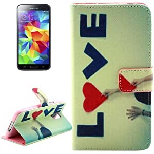 Crazy4Gadget LOVE Pattern Leather Case with Holder & Card Slots & Wallet for Samsung Galaxy S5