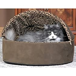 K&H Pet Products Thermo-Kitty Bed Deluxe Hooded Large Mocha Leopard 20 x 20 x 14 4 watts -