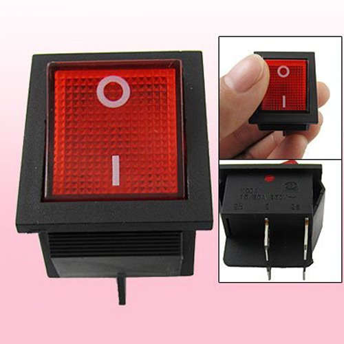 Sodial(R) Red Light Illuminated 4 Pin Dpst On/Off Snap In Rocker Switch 15A 30A 250V Ac