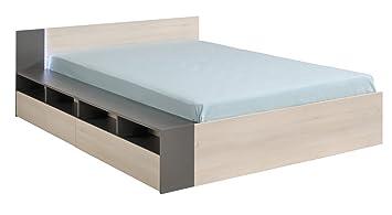 Lit avec tiroirs coloris acacia clair et gris - Dim : H 66 x L 173 x P 203 cm -PEGANE-