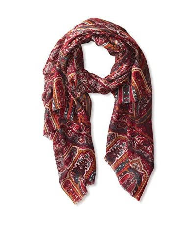 Saachi Women's Paisley Scarf With Border, Ruby Wine