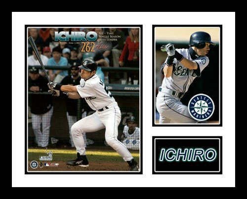All About Autographs AAA-50169 Ichiro Suzuki Seattle Mariners MLB Framed Photograph 262nd Hit Milestone Collage