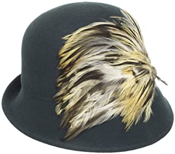 Jessica Simpson Women's Feathered Cloche, Deep Lake Teal, One Size
