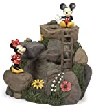 Disney 22in Mickey & Minnie Garden Fountain Made of Durable Limestone and Polyresin, Portable and Can Be Set up Indoors or Outdoors - Freestanding Fountain a Perfect Gift for Disney-lovers and Romantics-at-heart