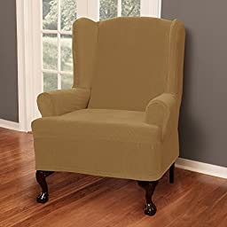Maytex Collin Stretch 1-Piece Slipcover Wing Chair, Gold