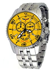 Corvette #CR215-9 Men's Stainless Steel Swiss Chronograph Yellow Dial Watch
