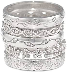 Sterling Silver Five Band Diamond Ring Set, Size 7