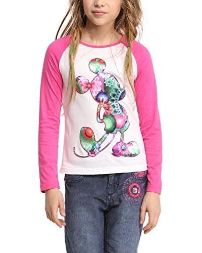 Desigual Camiseta Manga Larga Rosa / Blanco
