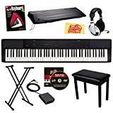 Casio Privia PX-150 88-Key Digital Piano Bundle with Gearlux Padded Flip-Top Bench, Gearlux JX-51 Stand, Gearlux Dust Cover, Cherub WTB-004 Sustain Pedal, Samson HP-10 Headphones, Hal Leonard Instructional Book, and Austin Bazaar Polishing Cloth - Black