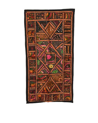Uptown Down One-of-a-Kind Patchwork Wall Hanging/Textile Panel, Brown/Multi