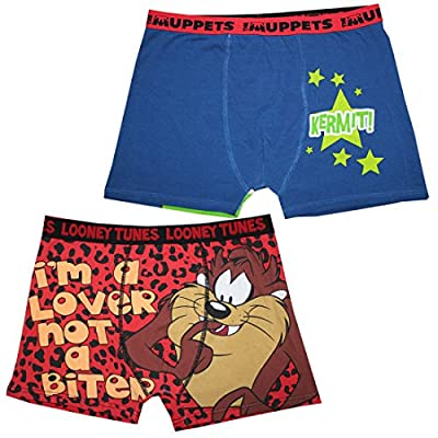 (Pack of 2) Mens MUPPETS(KERMIT THE FROG) & LOONEY TUNES(TAZ) Boxer Shorts