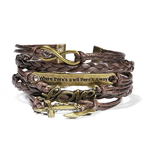 HITOP Jewelry Mens Womens Leather Bracelet, Anchor
