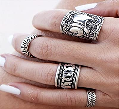 Sunscsc Vintage Retro Silver Elephant Joint Knuckle Nail Ring Set of 4 Rings