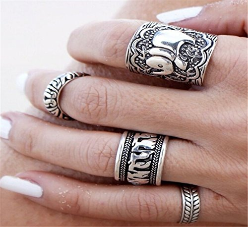 Suns Vintage Retro Silver Elephant Joint Knuckle Nail Ring Set of 4 Rings