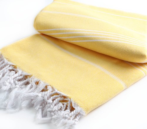 "Pestemal Blanket Throw Turkish Striped Beach Towel Picnic Home Bed 59""X79"" Tm By Cacala ""Yellow"" back-116503"