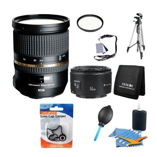 Tamron-SP-24-70mm-Di-VC-USD-Lens-w-16-GB-SDHC-Card-82mm-UV-HMC-Filter-PhotoVideo-Tripod-Lens-Cleaning-Kit-Digital-Grey-Card-Set-Professional-Blower-Dust-Removal-System-Tri-fold-Memory-Card-Wallet-and-