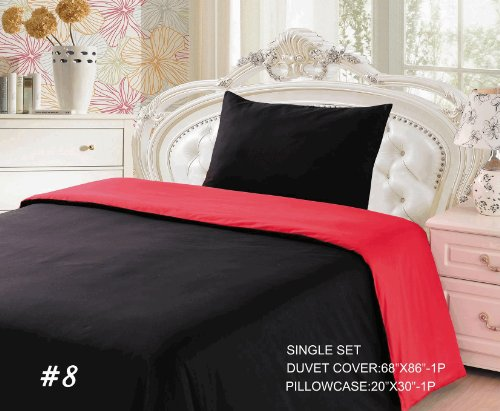 Tache 2 Piece 100% Cotton Solid Reversible Vibrant Red And Black Duvet Cover Set Twin Size front-471309