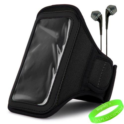 Vangoddy Active Bundle - Neoprene Sweat-Proof Armband Pouch W/ Key & Id Card Holder Fits Motorola Moto X Android Cell Phone // Jet Dark Black \\ + Black Earphone Buds W/ Microphone