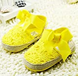 New Solid Summer Infant Toddler Princess First Walkers Newborn Baby Girls Kids Prewalker Shoes Bow Dress Shoes (3 US Size, Yellow)