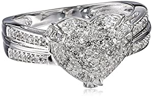 10k White Gold Diamond (1/2cttw, H-I Color, I3 Clarity) Heart Ring, Size 8