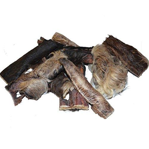 Artikelbild: Grobys Fellstreifen Rinderkopfhaut mit Fell in ca. 15 cm Stücke geschnitten, Verpackungseinheit:500 Gramm