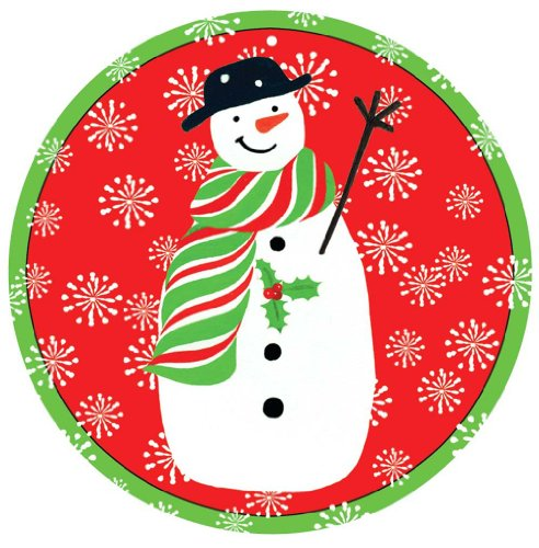 Caspari Ornament Tag with Header, Snowmen