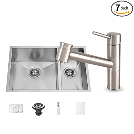 VIGO 29 inch Undermount 70/30 Double Bowl 16 Gauge Stainless Steel Kitchen Sink with Branson Stainless Steel Faucet, Two Grids, Two Strainers and Soap Dispenser