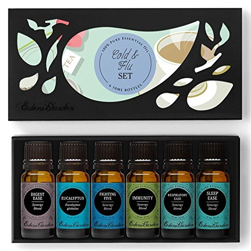 COLD & FLU Essential Oil Set- 100% Pure Therapeutic Grade Aromatherapy Oils- 6/ 10 ml of Digest Ease, Eucalyptus, Fighting Five (previously known as Four Thieves), Immunity, Respiratory Ease, Sleep Ease by Edens Garden